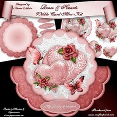 """Roses Hearts Scalloped Wobble Card Mini Kit on Craftsuprint designed by Karen Adair - This two sheet mini-kit will make this beautiful, large scallop wobble card. The kit contains a card, approximately 8""""in diameter, and plenty of decoupage. The kit also includes 7 sentiment tags. If you like this check out my other designs, just click on my name. - Now available for download!"""