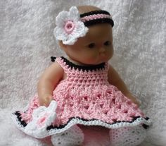 Crochet pattern for Berenguer 5 inch baby doll - dress with flower, hairband, knickers and shoes