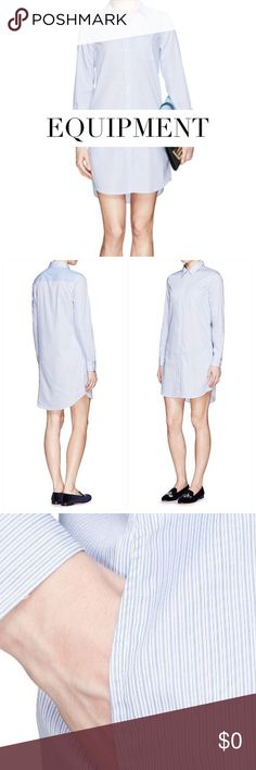 """Equipment """"Brett"""" Cotton Shirt Dress Equipment Cotton Dress. Executed in pinstriped cotton poplin, this dress from Equipment is a game-changing piece for everyday styling that features a sumptuous shirt-tail hem and blue & white pin stripes on silky cotton. Perfect to wear anywhere. Material: 100% Cotton. Size: Small Approx. Measurements: Bust 36"""", Waist 36"""", Length 37"""". Condition: Excellent Equipment Dresses"""