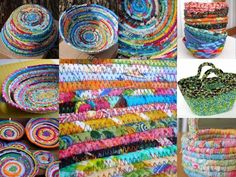Schalen und Körbe aus Stoffesten - ideas for fabric wrapped cord basket using the scraps of vintage blue-green fabrics.