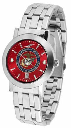 US Marines Dynasty AnoChrome Men's Watch by SunTime. $92.11. Elegant design for the modern man who wants to show their US Marines spirit! The dial is presented in a sleek, stainless steel case and bracelet that rests fashionably yet comfortably across the wrist. Features a convenient date display, quartz accurate movement and a scratch resistant mineral crystal face.The AnoChrome dial option increases the visual impact of any watch with a stunning radial refle...