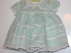 2 PC Green Organdy Baby Dress Alfred Leon Hand Made Philippines Spots