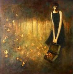 Duy Huynh paintings. In her little world she lives and dreams.