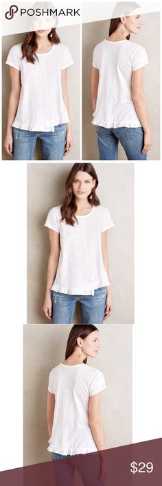 "ANTHROPOLOGIE ruffled hem tee left of center top ANTHROPOLOGIE Ruffled Tee by Left of Center   Color: white   $58 retail price, new without tag, inner label  Marked   Details:  Cotton jersey. Machine wash.   Size small: armpit to armpit flat 18"" Anthropologie Tops Tees - Short Sleeve"