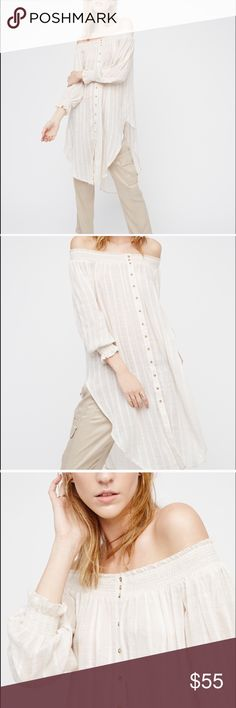 Free people wild adventures maxi shirt nwot Used only for photoshoot..!! Free People Tops Tees - Long Sleeve