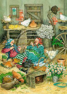 "❤ ""Inge, Look! When We've Finished, We'll Start Painting The Hens"" ~ Artist: Inge Look~ C. Art And Illustration, Illustrations Vintage, Christmas Art, Vintage Christmas, Father Christmas, Christmas Pictures, Old Lady Humor, Dibujos Cute, Oeuvre D'art"