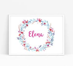 Personalised Wreath Customized Art Floral Design Name Art