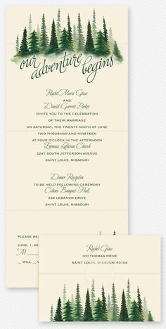 Forest themed wedding invitation. The perfect invite for an adventurous outdoor-loving couple. #ouradventurebegins