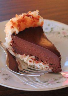 Lick The Bowl Good: Pie Party Recipes: Chocolate Macaroon Pie--use coconut milk/cream instead of heavy cream Desserts Keto, Paleo Dessert, Just Desserts, Delicious Desserts, Dessert Recipes, Yummy Food, Pie Recipes, Gluten Free Deserts, Gluten Free Sweets