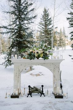 Winter outdoor wedding ideas, wedding ceremony in forestry woodland venues wedding winter Wedding Invites Paper Wedding Ceremony Ideas, Winter Wedding Ceremonies, Outdoor Winter Wedding, Fall Wedding Decorations, Ceremony Backdrop, Outdoor Ceremony, Wedding Themes, Winter Wedding Venue, Winter Wedding Snow