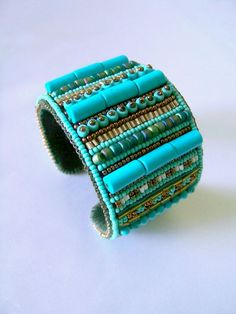 Turquoise Beaded Cuff Bracelet by BoomBoutiqueSF on Etsy, $65.00