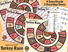 Includes 4 Turkey Game Boards and 2 differentiated recording sheets. You will need a coin for flipping and a place marker for each player. Students race to see who can get to the end of their turkey track first! Follow the path and identify the beginning sound of pictures along the way.