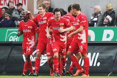 FC Union Berlin in their red jerseys. 1 Fc Union Berlin, 1.fc Union, Football, Red, Soccer, Futbol, American Football, Soccer Ball