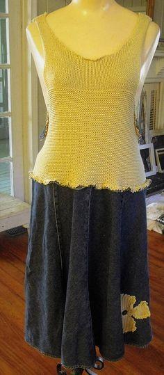 Denim and Sweater Knit Tank Dress/ L-1X Flirty Gored Navy