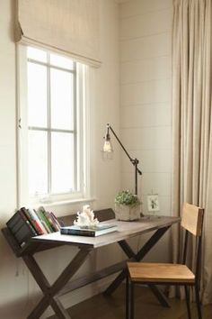 Great desk w/ built in book shelf Angie Helm Interior Design Bookshelf Desk, Amber Interiors, Hermosa Beach, Home Desk, Ship Lap Walls, Home Office Design, Small Spaces, Work Spaces, Interiores Design