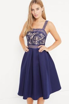 Little Mistress Navy Crochet And Lace Dress