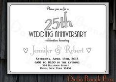 25th Wedding Anniversary Invitation by DarlinBrandoPress on Etsy