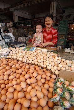 Egg vendor in Shanghai market ~