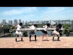 アップアップガールズ(仮)が夢見る15歳をお台場で踊ってみた。  This girls are the 7 member Japanese idol group, Up-Up Girls. Left to right: Saho Akari, Sengoku Minami, Furukawa Konatsu and Satou Ayano (members not present: Sekine Azusa, Mori Saki and Arai Manami). They are former members of Hello!Project Eggs. Trained to dance and sing by Hello!Project.
