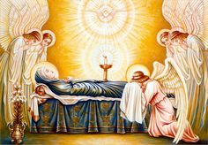 The Dormition and the Assumption are different names for the same event, and also known as the Falling Asleep of the Blessed Virgin Mary, according to the beliefs of the Catholic Church, Eastern Orthodoxy, Oriental Orthodoxy, and parts of Anglicanism, was the bodily taking up of the Virgin Mary into Heaven at the end of her earthly life. On 25 June 1997 during a General Audience Pope John Paul II affirmed that Mary did indeed experience natural death prior to her assumption into Heaven...