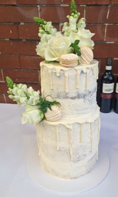 Double barrel semi naked drip wedding cake - by Cupcakes for your Cupcake, Sydney