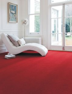 Devonia Plains in Pillar Box Axminster Carpets, Living Room Red, Pebble Art, Couch, Red Carpets, Furniture, Bedrooms, Box, Home Decor