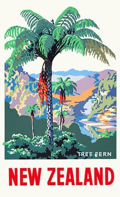 Vintage 1930s New Zealand Travel Posters Prints