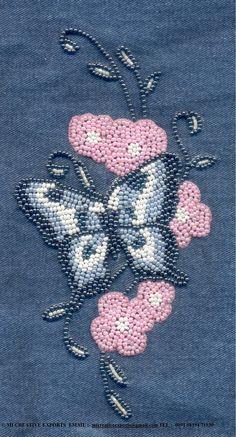 MI Creative Exports - Hand Emroidery: Hand Embroidery Bead Embroidery Tutorial, Bead Embroidery Patterns, Hand Embroidery Designs, Beading Patterns, Embroidery Stitches, Bordados Tambour, Tambour Embroidery, Silk Ribbon Embroidery, Beaded Embroidery