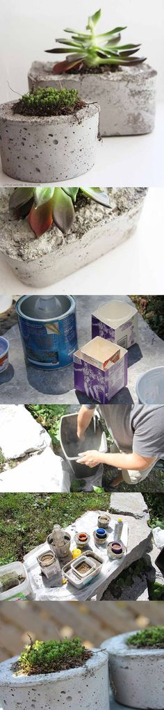 Macetas de hormigón Idea: create setting of planters with plants