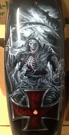 21 Ideas skeleton motorcycle tattoo grim reaper for 2019 bmw yamaha for women gear girl harley tattoo Airbrush Art, Airbrush Designs, Motorcycle Tattoos, Motorcycle Tank, Women Motorcycle, Custom Motorcycle Paint Jobs, Dark Art Tattoo, Tattoo Art, Totenkopf Tattoos