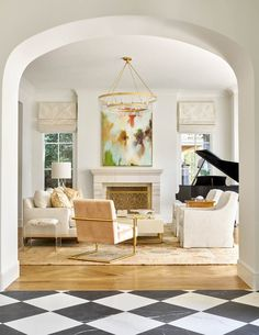 Formal living room with grand piano. Love the archway Design – jenkins interiors #modernfamilyroomdesign
