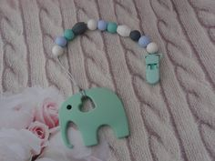 Mint Elephant Teether Silicone,Customized Baby's Name, Personalized, Food Grade Silicone, Toy for Babies,Silicone Teething Beads,Sensory Toy
