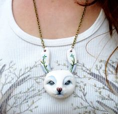 White rabbit pendant Polymer clay rabbit necklace by WhimsyCalling