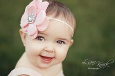Pale Peach Linen Fabric Flower Headband