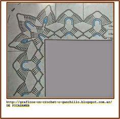 Crochet Border Patterns, Crochet Boarders, Crochet Bedspread Pattern, Crochet Lace Edging, Crochet Quilt, Crochet Diagram, Crochet Home, Crochet Shawl, Crochet Designs