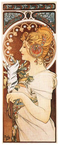 Mucha Quill 1809 Poster Art Print Classic Art Nouveau Woman (2 of 2))