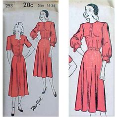 Vintage 1940s  Sewing Pattern for 2 Dresses Bust 34. UNCUT 1940's, unprinted, sewing pattern, MINT in original envelope with the instruction chart.
