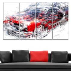 American Burn Out Car Art Large Gallery Wrapped Canvas - Overstock™ Shopping - Top Rated DESIGN ART Canvas