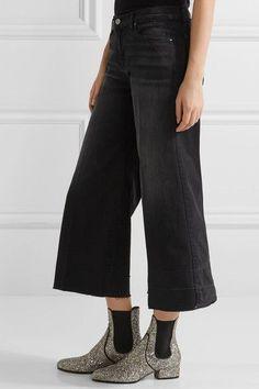 J Brand - Liza Cropped Mid-rise Wide-leg Jeans - Black -