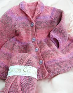 """I love this sweet """"Girl's Victorian Coat"""" (Knitting Pure and Simple) Maureen made using Encore Colorspun #7733. It's a perfect coat for spring!"""
