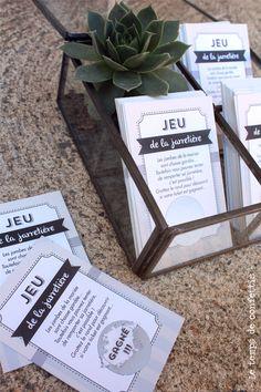 En voilà une façon originale de jouer au jeu de la jarretière ! Un façon moderne et dépoussiérée qui fera le bonheur de vos convives.    Vos invités vont adorer gratter leur petite carte.  Il ...