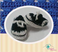 Modelo N° 75:Converse Negro, Tennis convers tejidos a crochet #Convers #shoesbaby #zapatitos #babycrochet #crochet