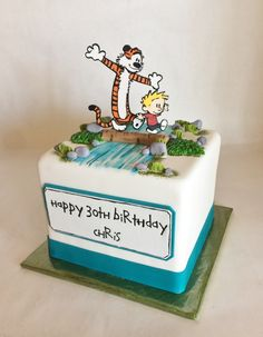 Custom Cake | Birthday Cake | 30th Birthday | Calvin and Hobbes | Hand painted | fondant | appliques | Baked Custom Cakes