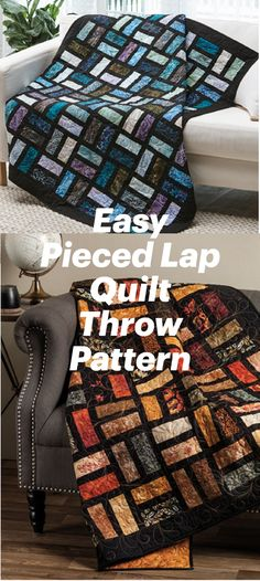 Pieced Lap Quilt Throw Pattern to Make in a Variety of Different Ways for Every Season #quilting #quilt #sewing Easy Quilt Patterns, Easy Quilts, Free Pattern, Seasons, Sewing, Knitting, Fabric, Projects, How To Make