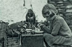 "Tea Party For A Lobster And A Hawk  ""Anne and her family lived alone on an island. She enjoyed having tea time with her friends the spiny lobster and baby hawk.""   National Geographic, August 1938    by Marianna"