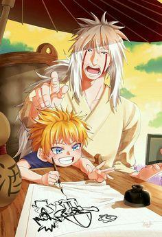 Awww so kawaii Jiraya and naruto Naruto Kakashi, Anime Naruto, Film Naruto, Naruto Comic, Naruto Shippuden Sasuke, Otaku Anime, Anime Chibi, Wallpaper Naruto Shippuden, Naruto Wallpaper