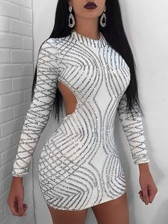 【Chicme Hello 2018】Up to 90% off! Sexy Open Back Sequined Mini Dress