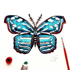 """Day 97 of my challenge #100daybutterflies #100daychallenge is inspired by """"Myscelia Cyaniris"""" can be found in Central America and Northern South America, from Mexico to Honduras, Costa Rica, Panama, Venezuela, Ecuador and Peru. #triplesartists #art_empire #imaginationarts #artoftheday #art_we_inspire #challenge #art  #illustration #butterfly #life #red #nature #phooftheday #brown #love #fun #rtistic_feature #featuregalaxy #creative_instaarts #me #worldbutterflies #happy #watercolor #acrylic…"""