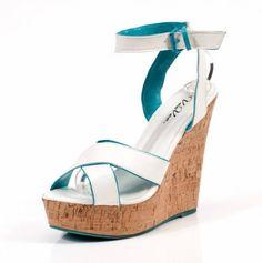 Ladies Cork Wedge Sandals - white with turquoise peek
