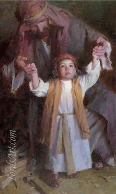 Just think St Joseph BV Mary taught Jesus how to walk. Morgan Weistling - Walking with God Pictures Of Christ, Religious Pictures, Bible Pictures, Lds Art, Bible Art, Catholic Art, Religious Art, Arte Lds, Morgan Weistling